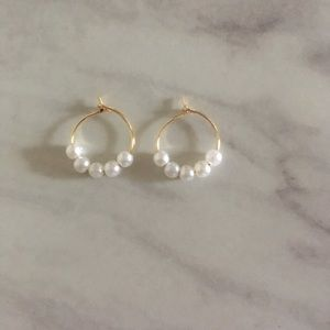 Small Gold & Pearl Hoops